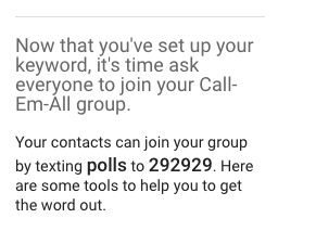 Text explaining that users can join your text group by texting your keyword to 292929