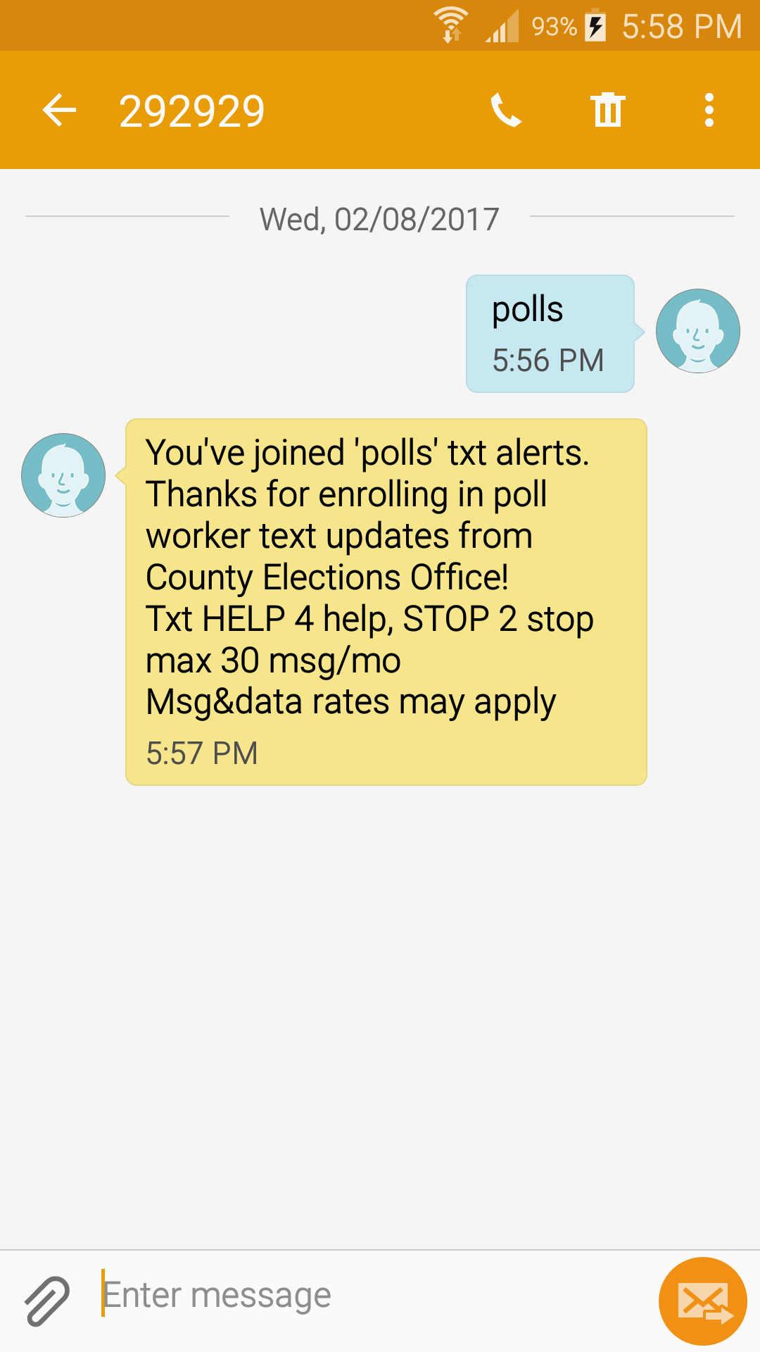 On a phone, a user has texted the keyword polls and has received a confirmation message in response