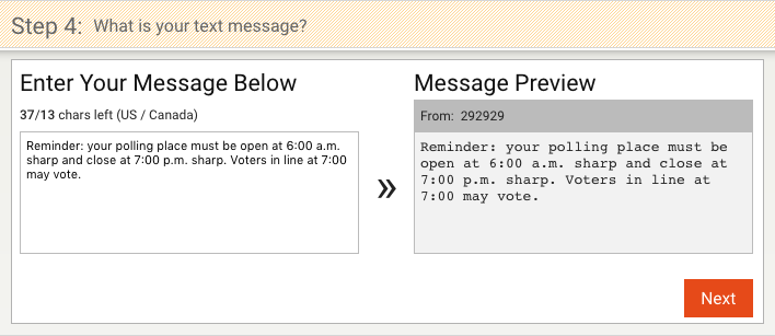 A user has entered a message on the left, and the website displays a preview of the message on the right