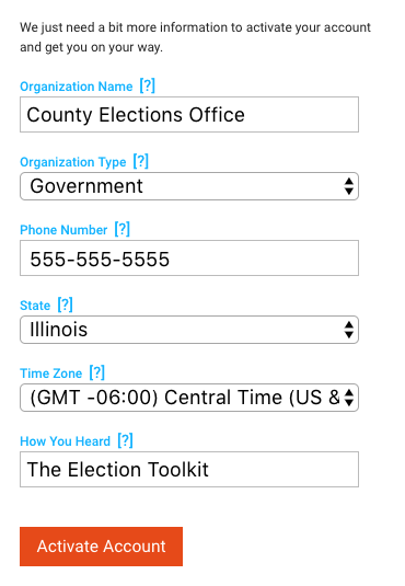 A user has entered information about their election office