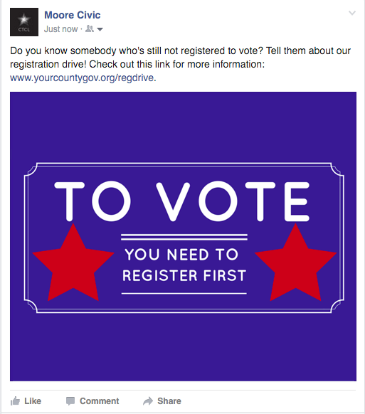 A sample Facebook post includes graphic and a message asking if the reader knows someone who isn't registered to vote