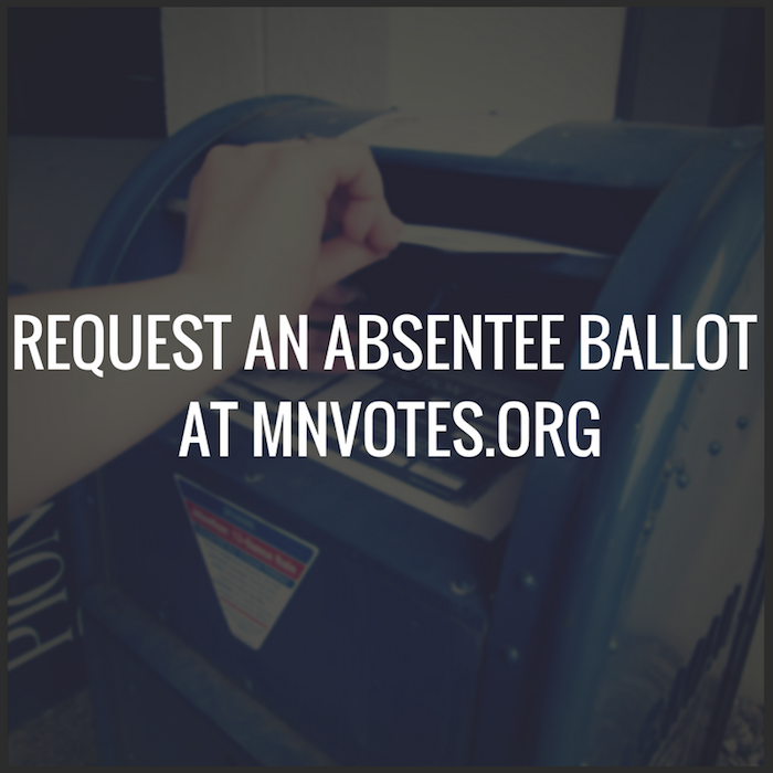 Background image is a person's hand dropping an envelope into a blue post office mail box. Text in front of the image lets readers know they can request an absentee ballot at mnvotes.org