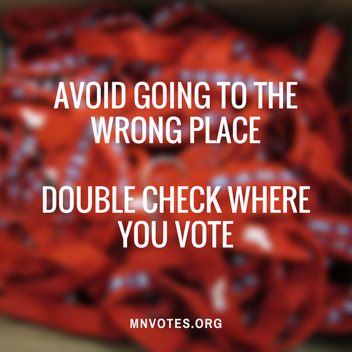 Graphic reminds readers to double-check their voting location so they don't go to the wrong place
