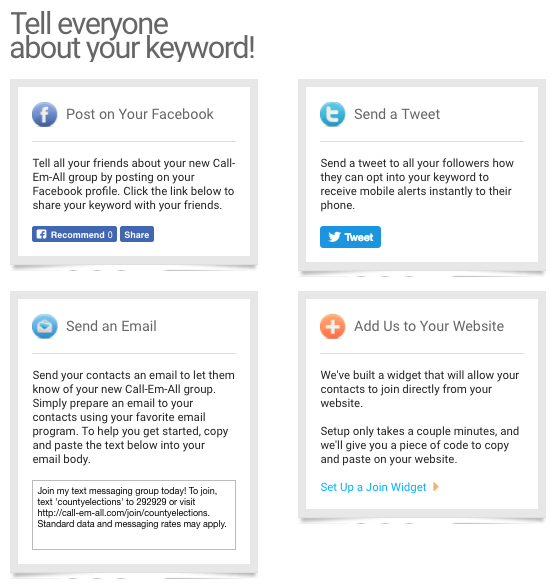 Menu of four options for promoting your keyword: Facebook, Twitter, email, and embedding on a website
