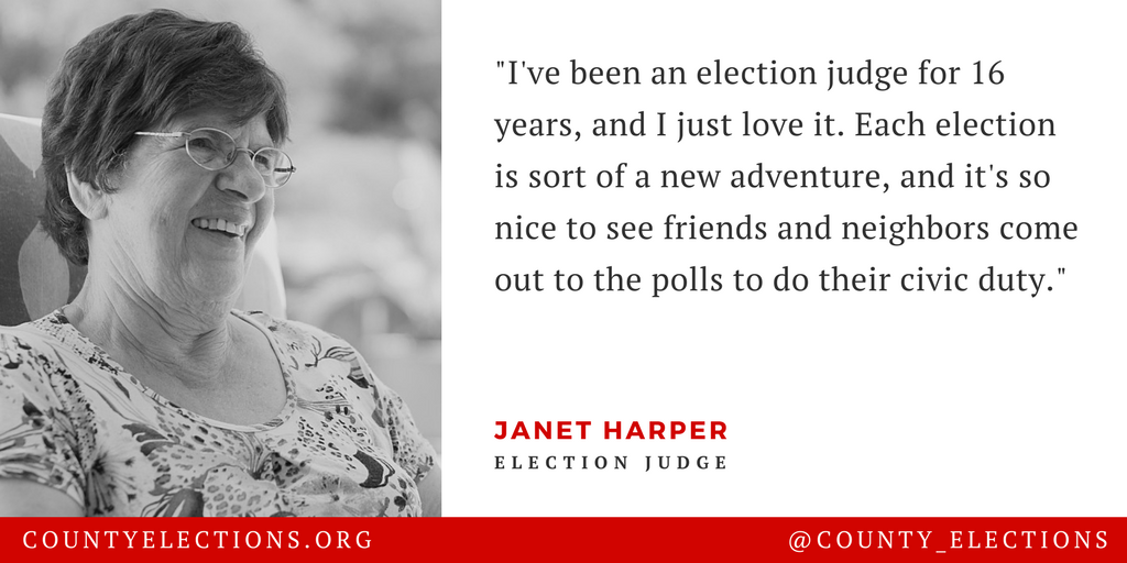 Poll worker profile graphic includes photo and quotation