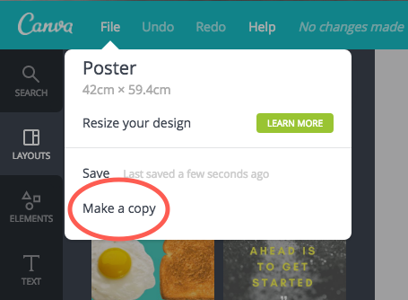 A user finds Make a Copy button by clicking on File in Canva's top menu