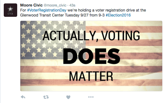 A sample Twitter post includes American flag graphic and a message saying a voter registration drive will be held on Friday