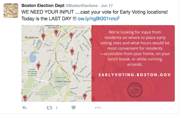 A Tweet from the Boston Election Department asks readers to vote for early voting locations