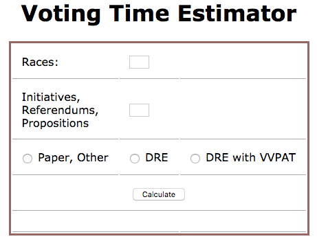 Tool for estimating voting times