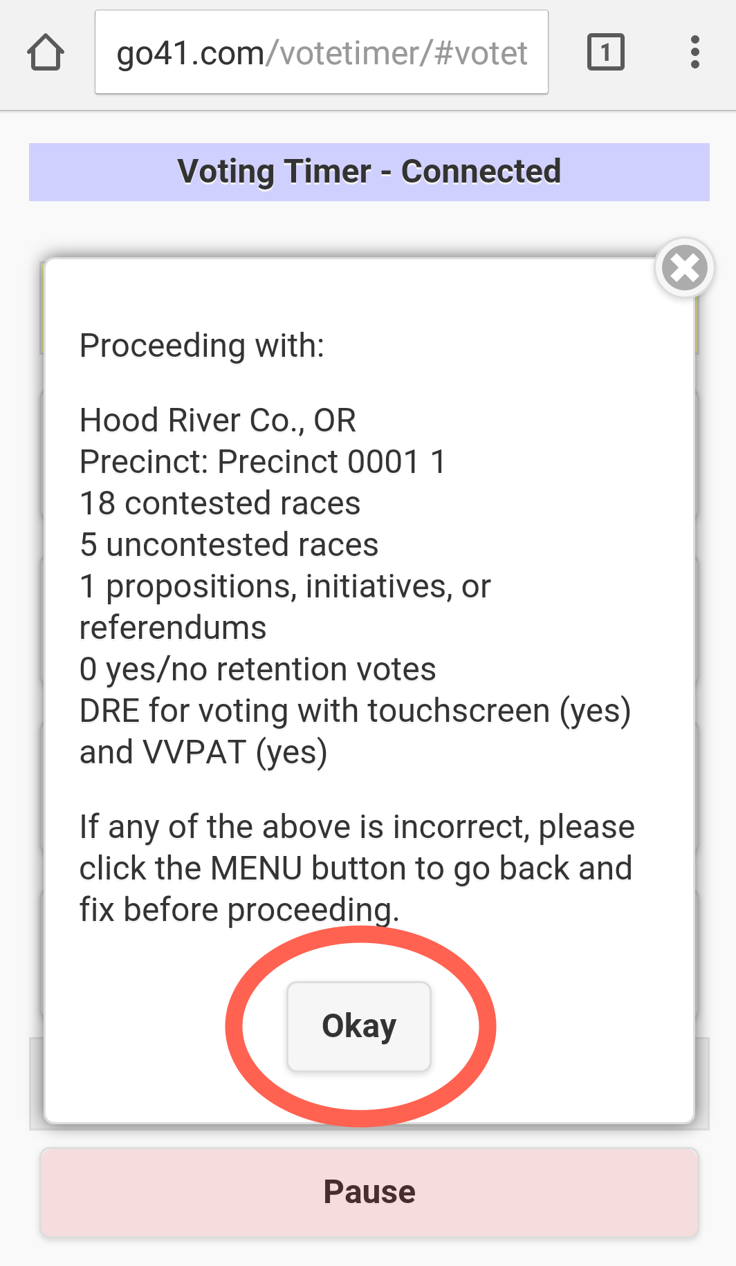 A user is prompted to confirm details before tapping Okay