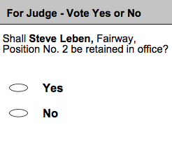 Retention vote with a candidate's name and a yes or no vote