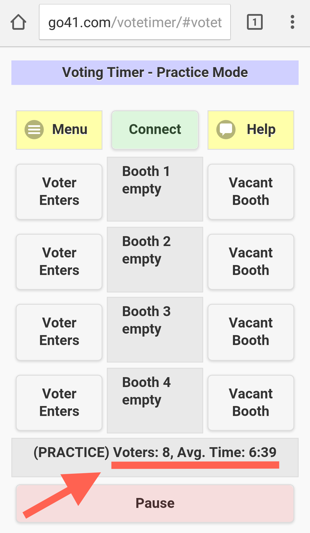 Timer shows 8 voters had an average wait of 6 minutes 39 seconds