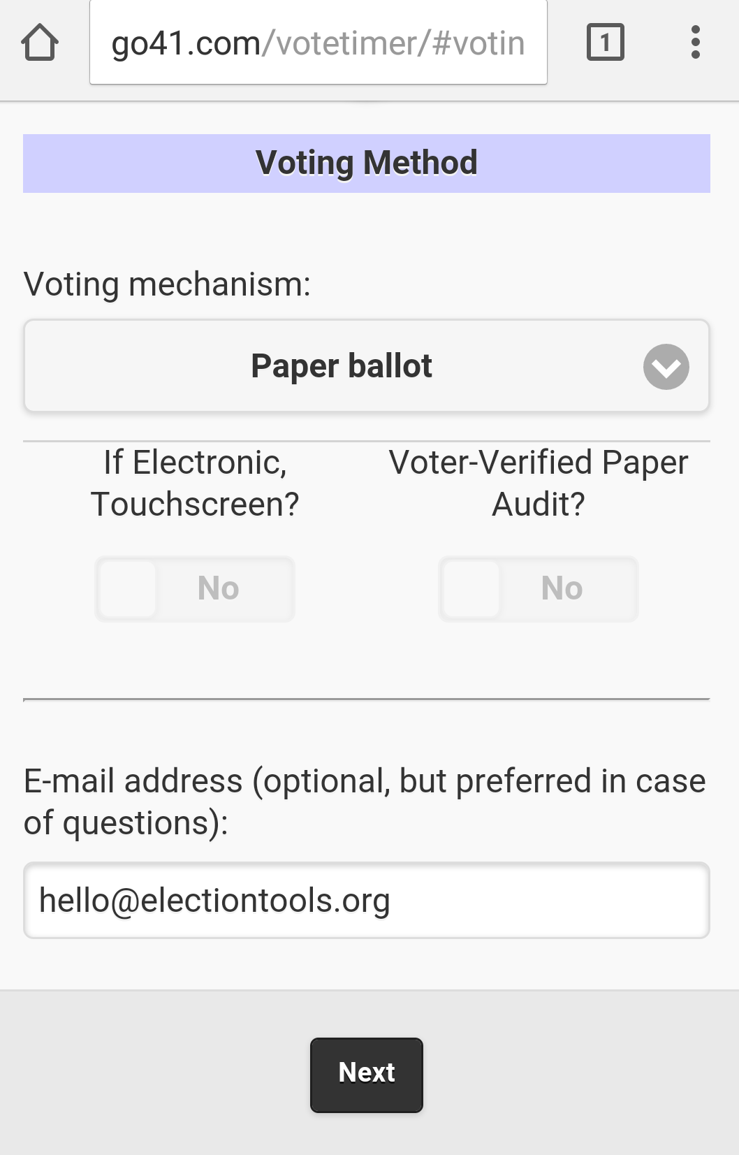 A user has selected the voting mechanism and has entered an email address