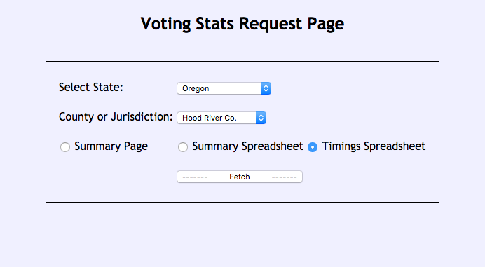 The stats request page asks for state and locality and gives three options for fetching data