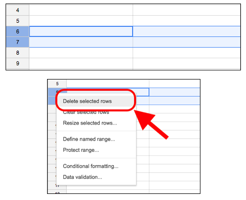 A user selects 2 rows, right clicks, and selects Delete selected rows