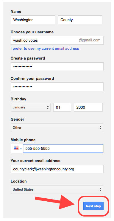A user has entered information needed to create a Google account
