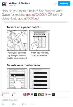 Tweet with icons that show how to mark a ballot