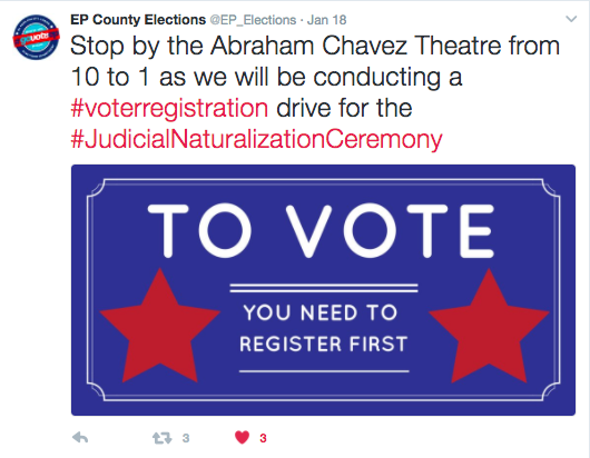 Tweet with graphic that reads to vote, you need to register first