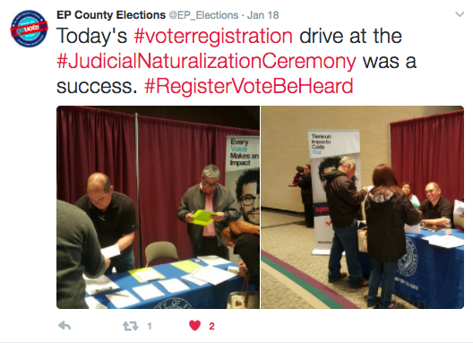 Tweet with photos of people at voter registration drive