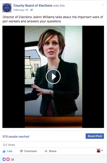 Facebook Live video now appears as a post on a Facebook Page, with the heading County Board of Elections was live