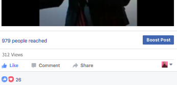 Below the post, Facebook displays number of people reached, number of views, reactions, comments, and shares