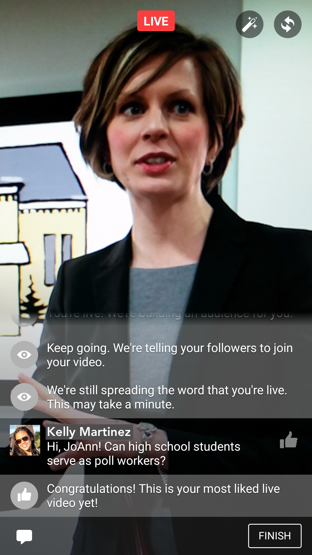 Facebook Live's notifications frame, with text notifications appearing over the camera image