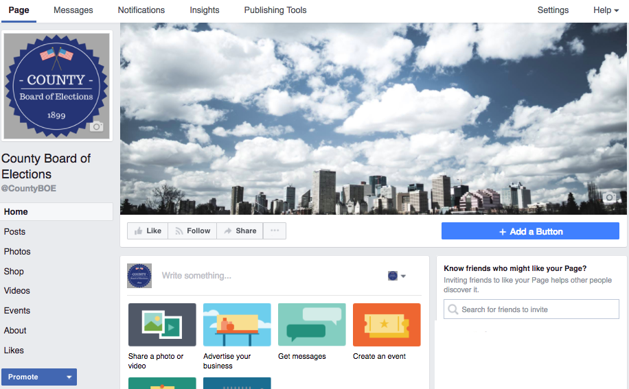 Facebook Page with cover photo, profile photo, username, and description added