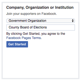 A user has selected Government Organization in the dropdown box and has typed County Board of Election as the organization name