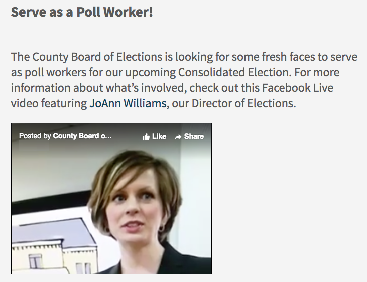 Video appears embedded on a web page with text about serving as a poll worker