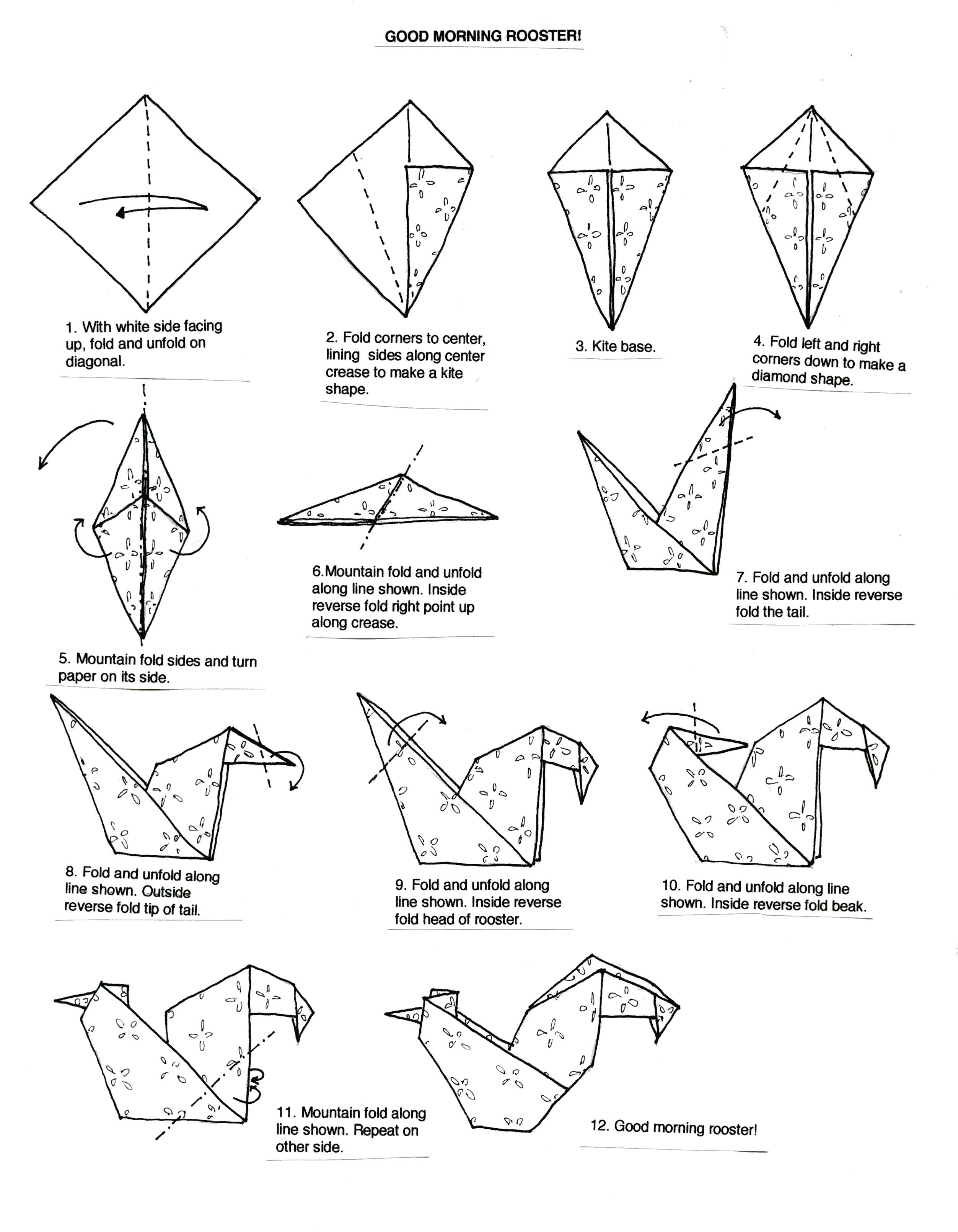 With 12 graphics and illustrations, the 12 basic steps needed to fold an origami rooster
