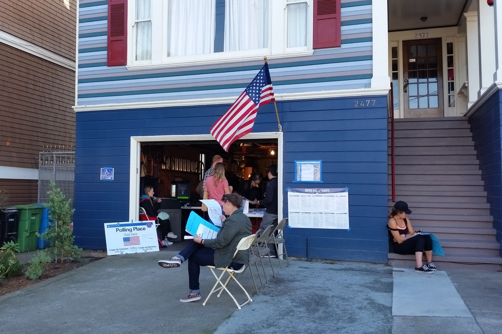 Polling place in a residential garage in San Francisco