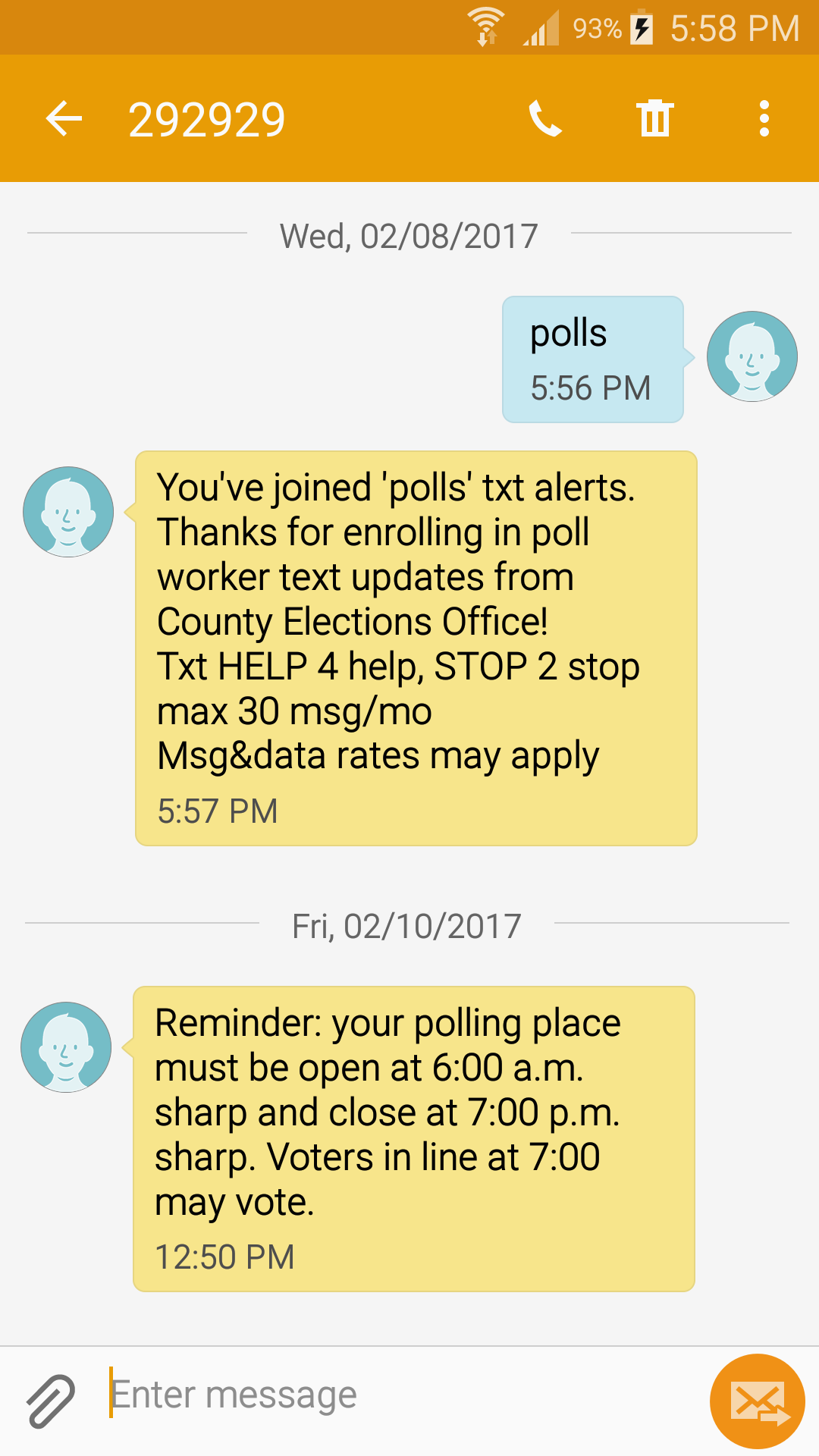 Phone screenshot shows a user has subscribed to text messages and has gotten a text reminder about when to open and close the polls