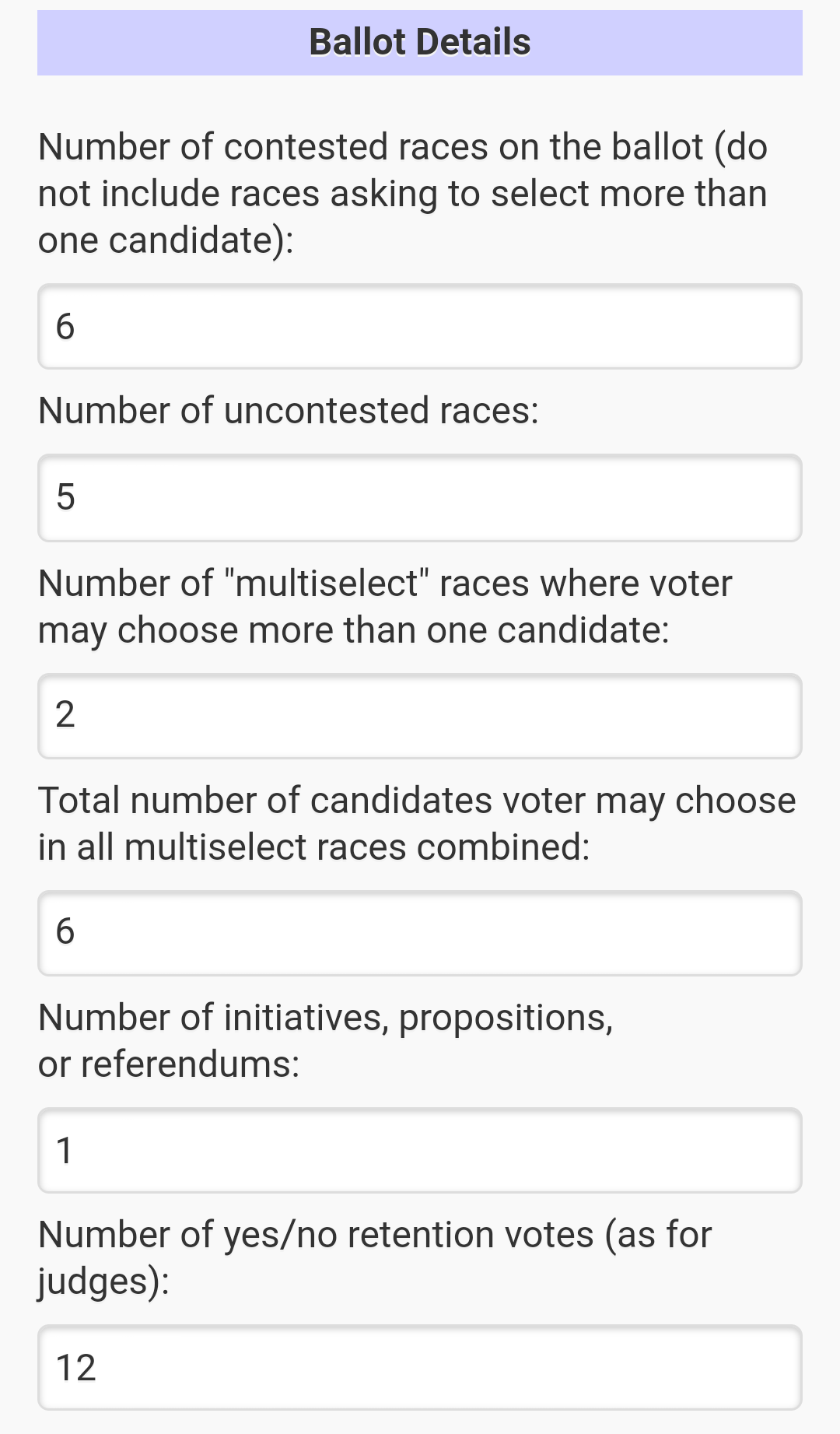 A user has entered numbers of the different ballot prompts