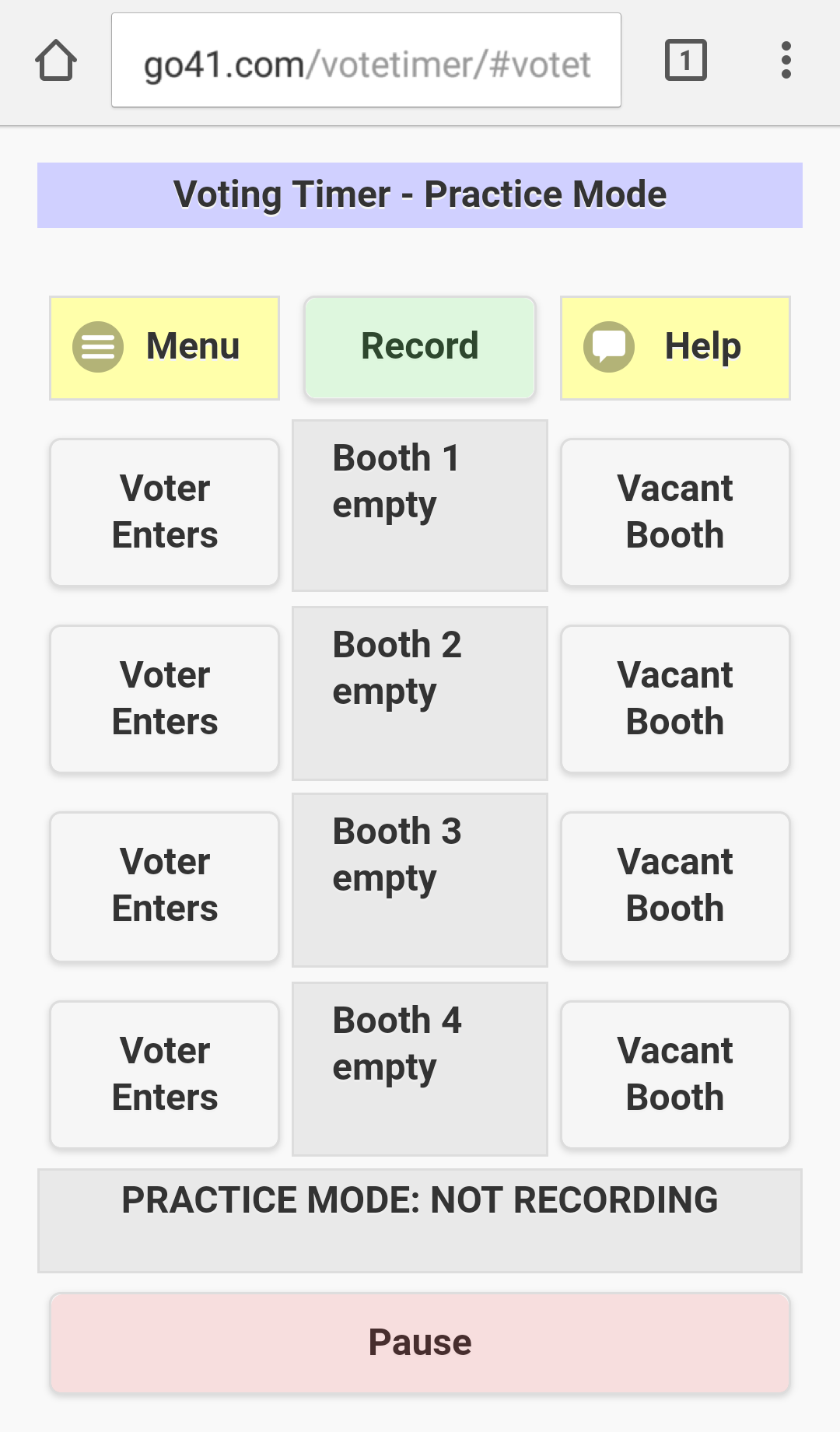 The Voting Timer, with controls for 4 voting booths and a menu above