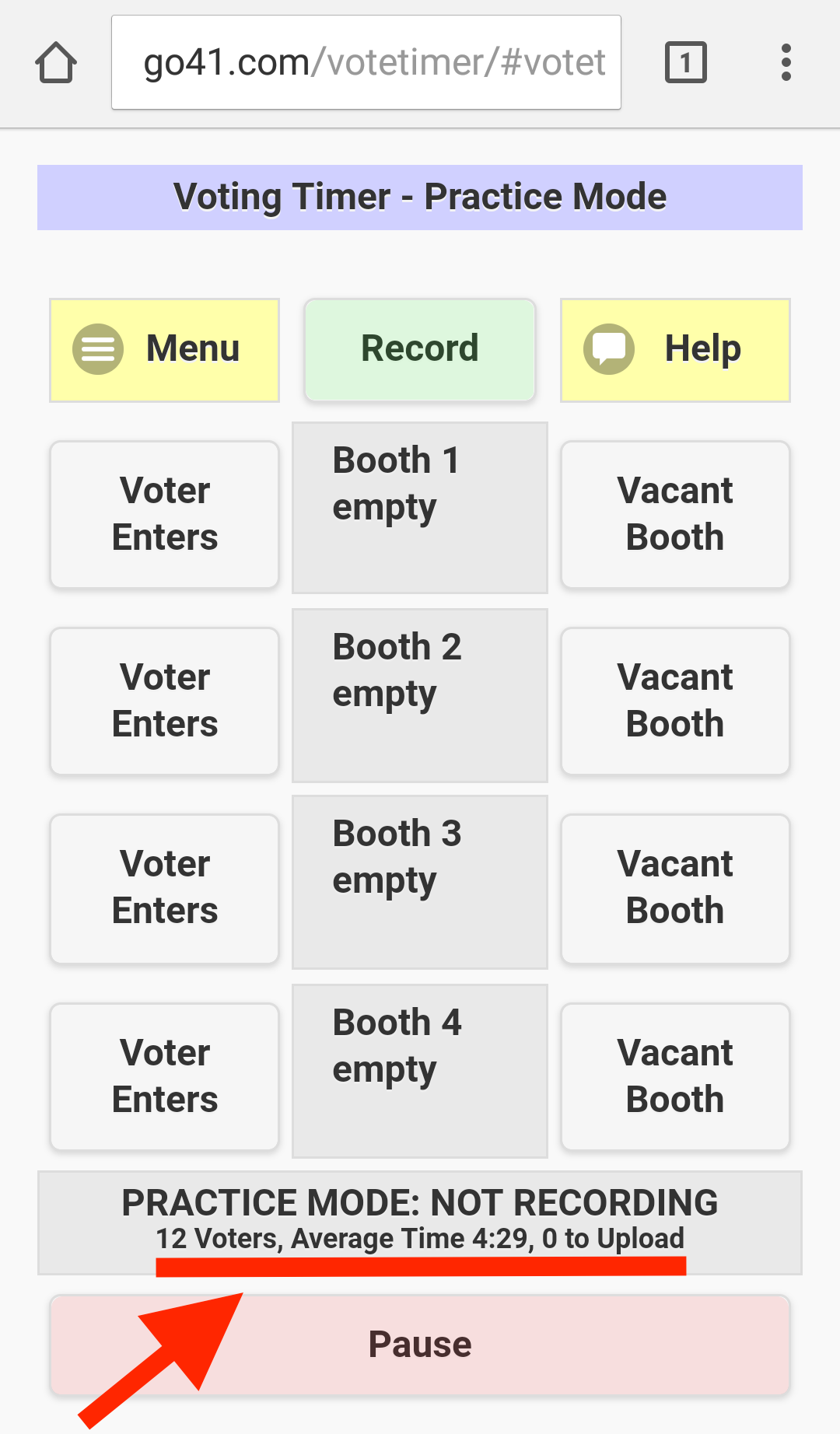 Timer shows 12 voters had an average wait of 4 minutes 29 seconds
