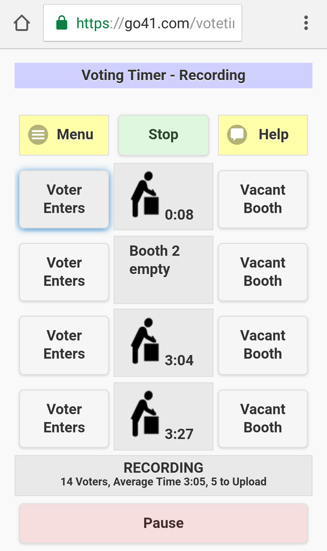The Voting Timer App, with 3 booths actively being timed and a total average time of a little over 3 minutes for 14 voters