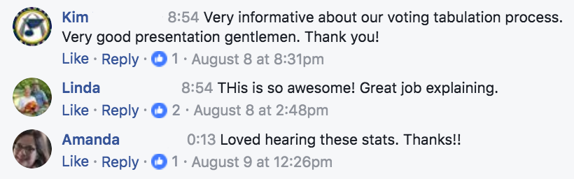 Facebook comments describe video as informative and awesome