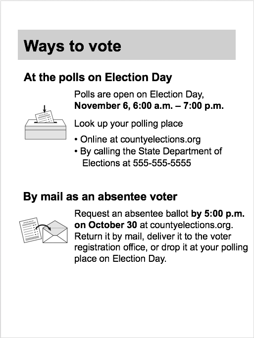 Pocket voter guide template : Election Tools